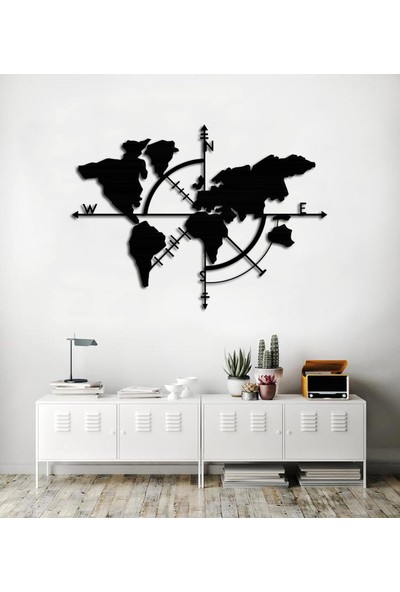 İnnova Metal Metal Tablo Dünya Haritası Metal Duvar Dekoru