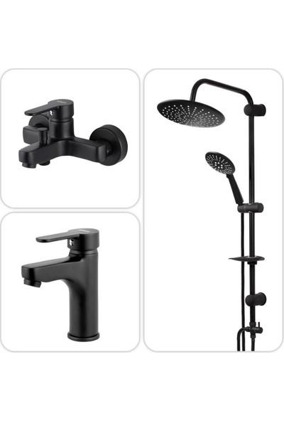 Venezia Siyah Banyo Batarya Lavabo ve Duş Seti 01 (Arteon Yağmur Yuvarlak)