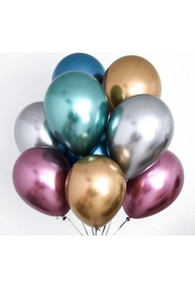 Kalisan 12 Inç Mirror Balon 5 Adet Karışık Renk Krom Balon