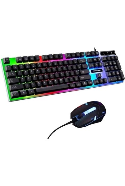Concord C56 Rgb LED Işıklı Klavye Mouse Seti
