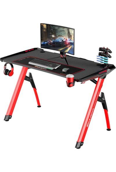 Adore Gaming Master Rgb Oyuncu Masası AGT-124-QK-1 Karbon Çelik Gövde Siyah Kırmızı