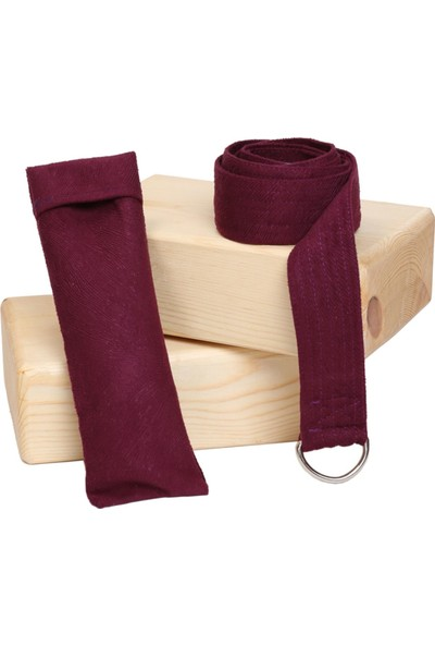Zunkla 2'li Ahşap Yoga Blok - Yoga Kemeri - Göz Yastığı Üçlü Yoga Seti