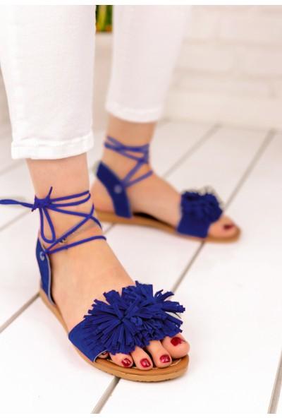Pabucmarketi Kadın Saks Mavisi Süet Sandalet