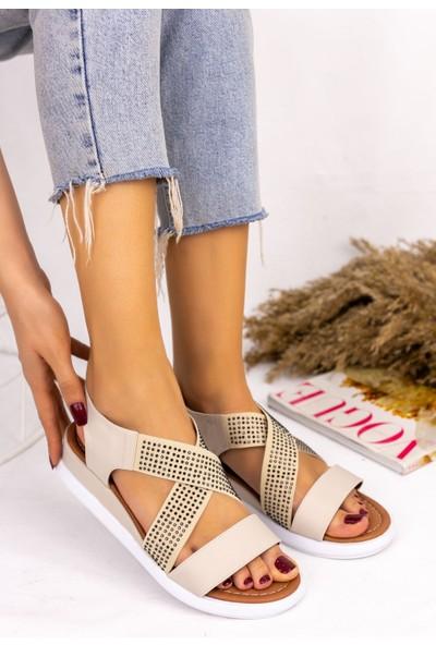 Pabucmarketi Kadın Krem Cilt Sandalet