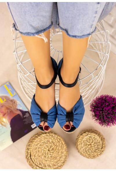 Pabucmarketi Kadın Bebe Mavisi Keten Siyah Detaylı Sandalet