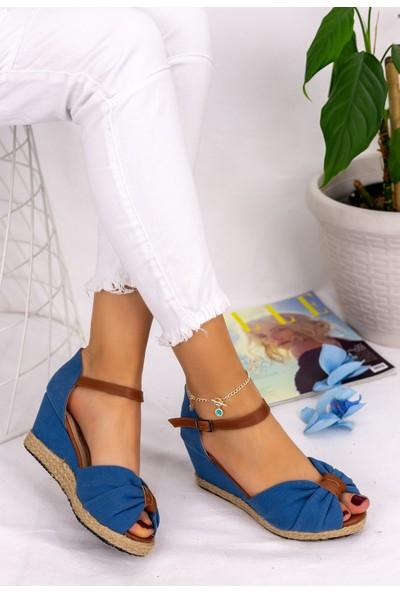 Pabucmarketi Kadın Bebe Mavisi Dolgu Topuk Sandalet