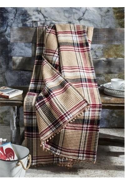 Aksu Cozy Life Tek Kişilik Pamuklu Battaniye Inka Bej-Kırmızı