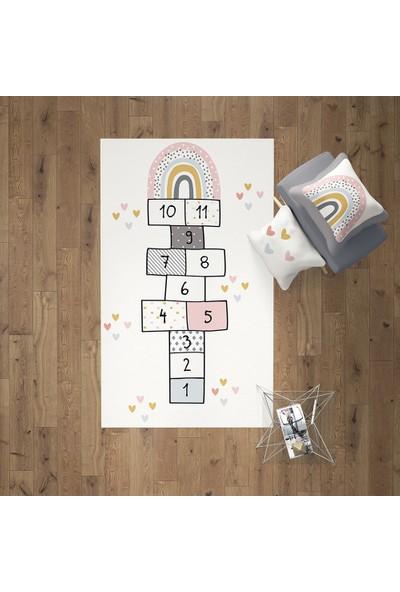 Gradenya Soft Kalpli Gökkuşağı ve Seksek Çocuk Odası Halısı 50 x 80 cm
