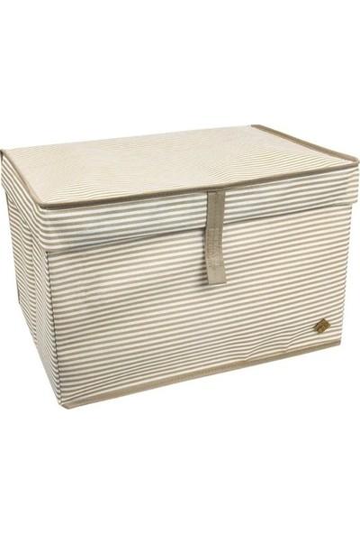 Meleni Home Kapaklı Çok Amaçlı Hurç Saklama Kutusu Organizer Maxi 50 x 40 x 30 cm Kahverengi