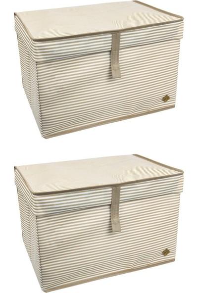 Meleni Home Kapaklı Çok Amaçlı Hurç Saklama Kutusu Organizer Mini 40 x 30 x 26 cm Kahverengi 2 Adet