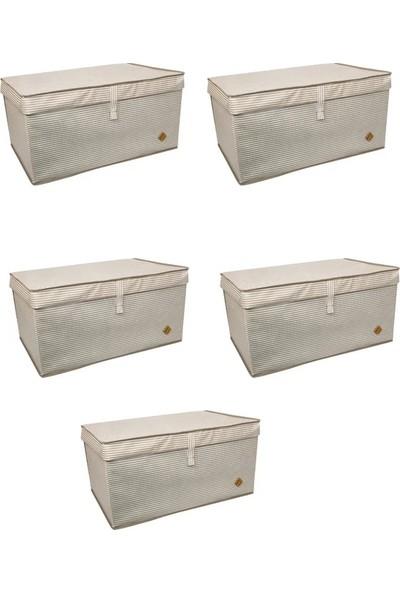 Meleni Home Kapaklı Çok Amaçlı Hurç Saklama Kutusu Organizer Mega Plus 70 x 40 x 30 cm Kahverengi 5 Adet