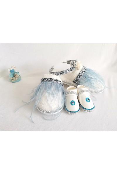 Ce'ee Baby Mavi Taş Detaylı 3'lü Lohusa Seti
