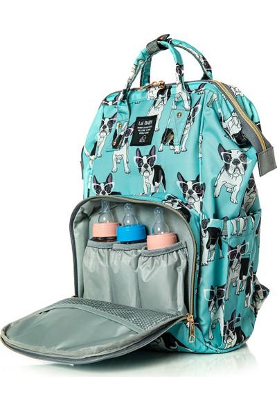 Lal Baby Köpek Desenli Mavi Anne Bebek Bakım Sırt Çantası