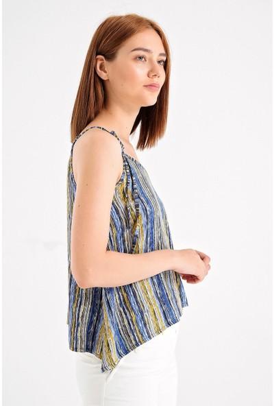 Jument Desenli Kırınkıl Askılı Bol Kesim Bluz -Mavi D