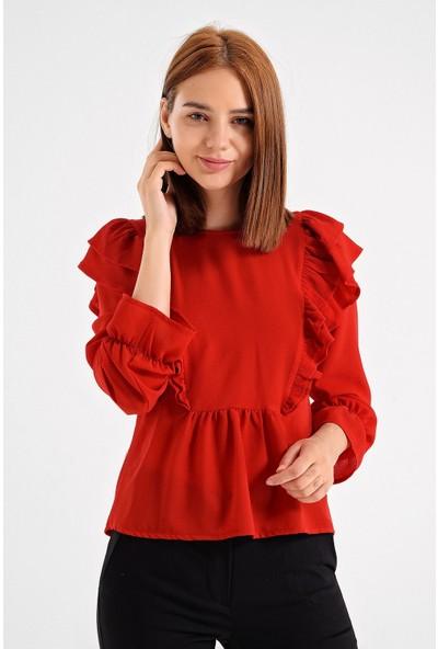 Jument Krep Sıfır Yaka Fırfırlı Ön Arka Volanlı Uzun Kol Şık Ofis Bluz-Kırmızı