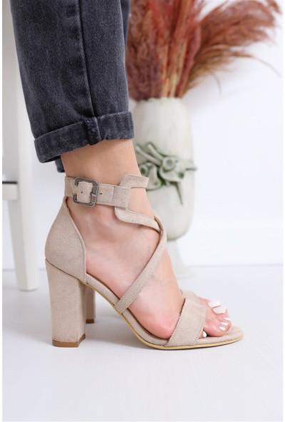 Hayalimdeki Ayakkabı Ansley Topuklu Ten Süet Sandalet