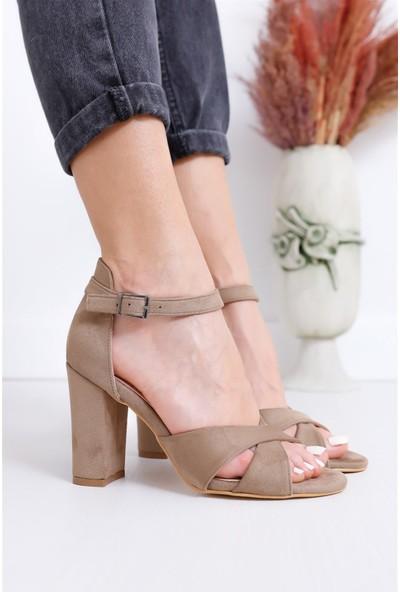 Hayalimdeki Ayakkabı Jany Topuklu Vizon Süet Sandalet