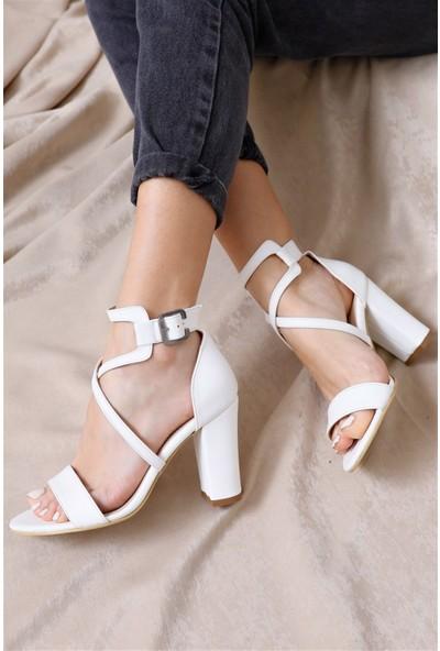 Hayalimdeki Ayakkabı Ansley Topuklu Beyaz Cilt Sandalet