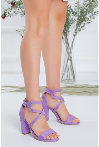 Hayalimdeki Ayakkabı Ansley Topuklu Lila Süet Sandalet