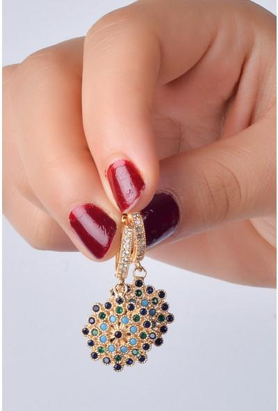 Luxurb Zirkon Taşlı Renk Cümbüşü Kadın Küpe