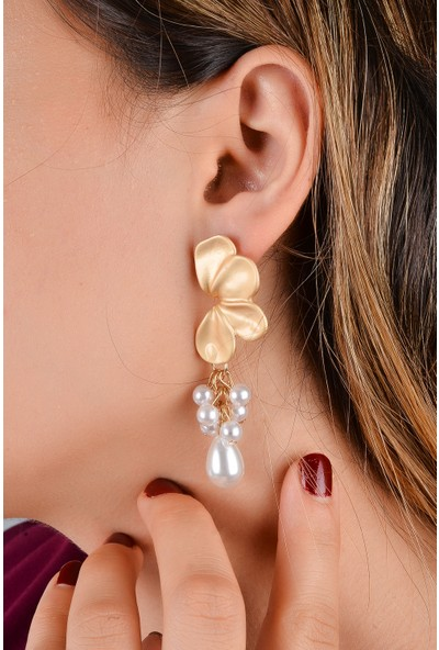 Luxurb Zara İnci Papatya Figürlü Kadın Küpe