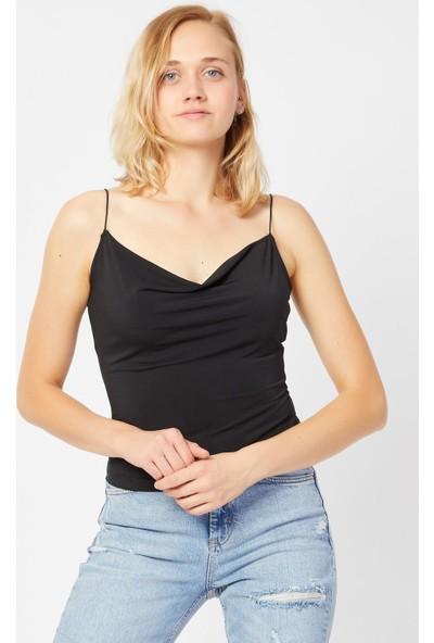 4 Sisters Fashion Ip Askılı Degaje Yaka Siyah Bluz