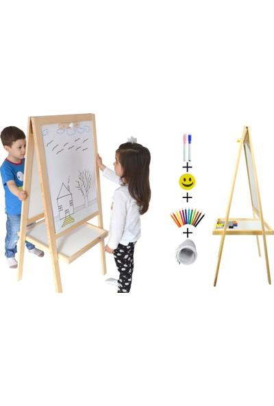 Ayaklı Ahşap Yazı Tahtası Çift Taraflı (tahta silgisi+tahta kalemi)