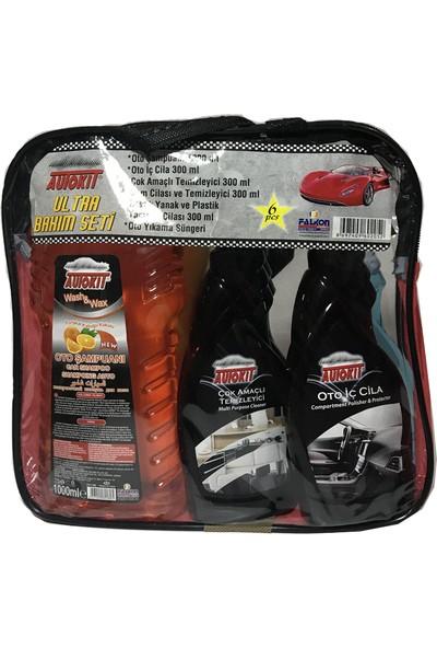 Autokit Araç Bakım Seti Lastik Parlatıcı + Oto İç Cila Cam Cilası + Oto Şampuanı Süngeri + Genel Temizleyici