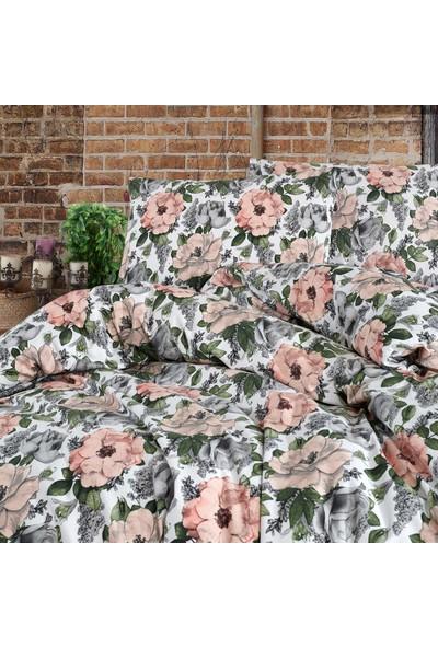 Cotton Touch Floral Yeşil Ranforce Çift Kişilik Nevresim Takımı