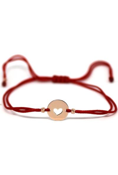 Alberaccessories 925 Ayar Gümüş Mini Kalp Bileklik 14K Saf Altın Kaplama