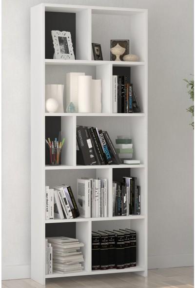 PlatinReyon Dekoratif Zigzag Kitaplık Beyaz