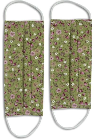 Heybez Yeşil Çıtır Çiçekler Bez Maske