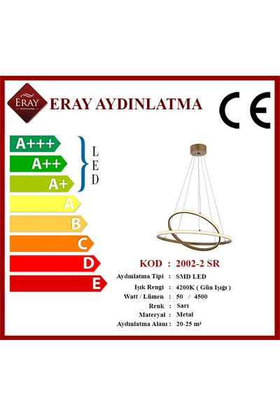 Eray Aydınlatma 2002-2 Gd LED Gold Avize
