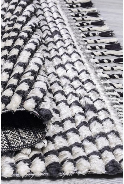 Butik Siyah Beyaz Dokuma Post Halı 2764 80 x 150 cm