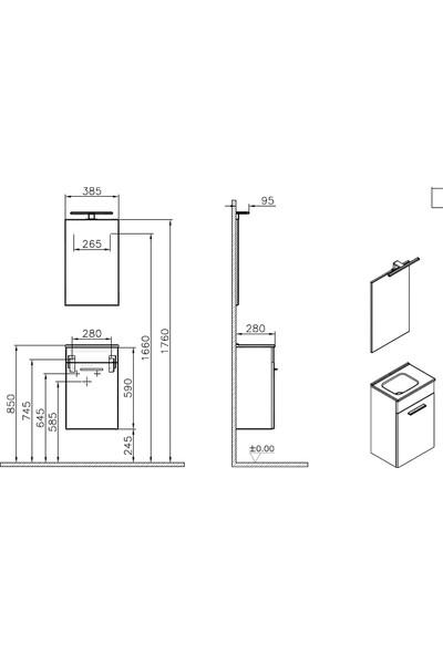 Vitra Mia 75022 Lavabo Dolabı Demonte 40 cm Parlak Beyaz