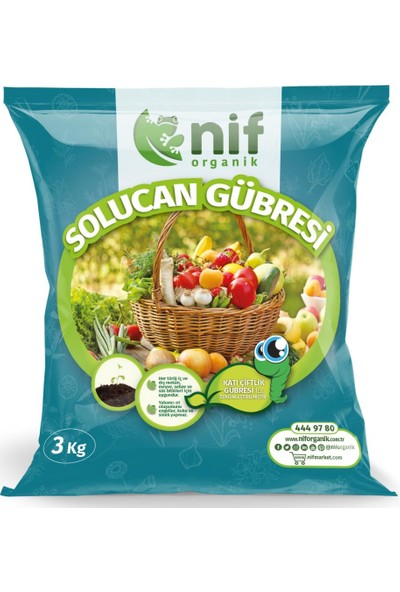 Nif Organik Solucan Gübresi %100 Doğal 3 kg Bitki Çiçek Fide