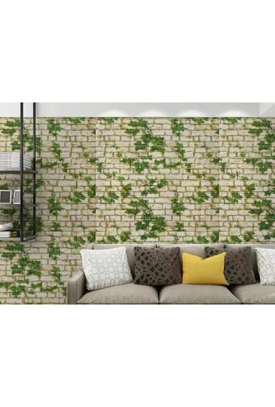 NW80 Yosunlu Taş Desen Kendinden Yapışkanlı Temizlenebilir Esnek Duvar Paneli
