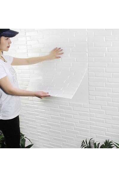 NW55 Beyaz Opak Model Taş Desen Kendinden Yapışkanlı Sünger Silinebilir Esnek Duvar Paneli