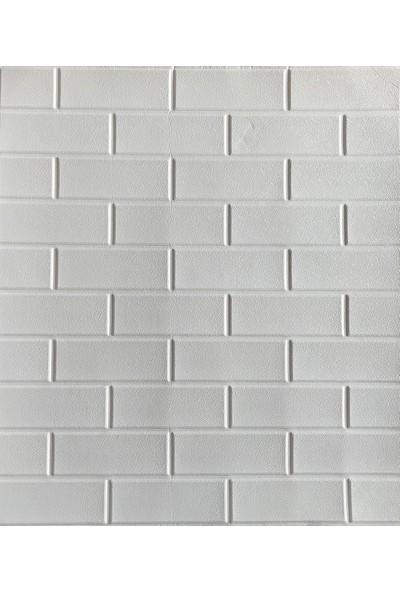 Renkli Duvarlar NW63 Beyaz Düz Tuğla Desen Duvar Paneli