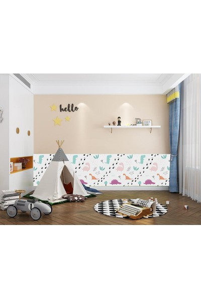 Renkli Duvarlar NW67 Çocuk Odası Dinozorlu Yaprak Desenli Duvar Paneli