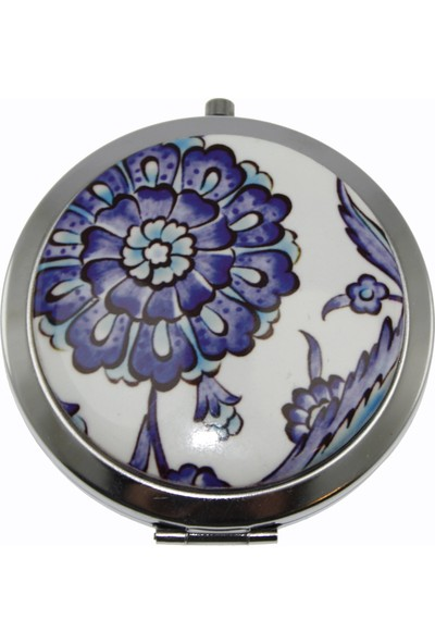 Otantik Çini Mavi Beyaz Dekorlu Çanta Aynası