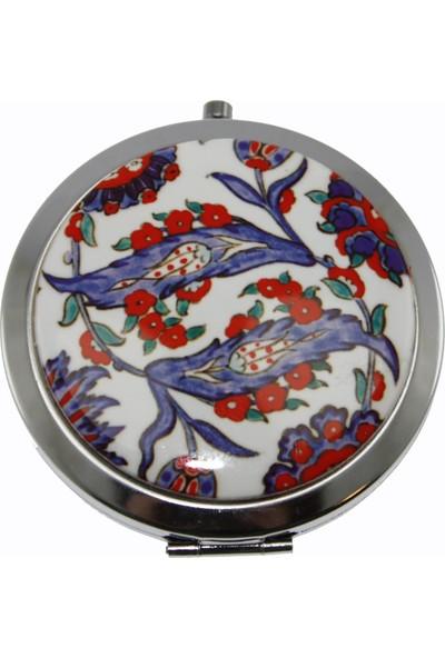 Otantik Çini Lale Dekorlu Çanta Aynası