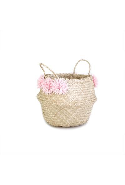 Kanca Ev Pembe Çiçekli Katlanır Göbekli Hasır Sepet 30 Cm