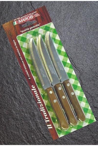 Globy Marob Ahşap Saplı Et Biftek Bıçağı Tırtıklı 6 Adet 914TR