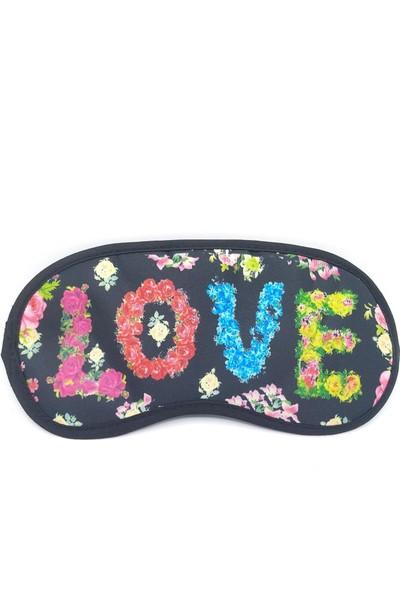 Attach Siyah Çiçekli Love Uyku Bandı