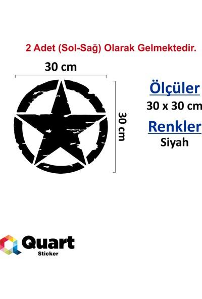 Quart 2 Adet Army Star, Askeri Yıldız Off Road Sticker