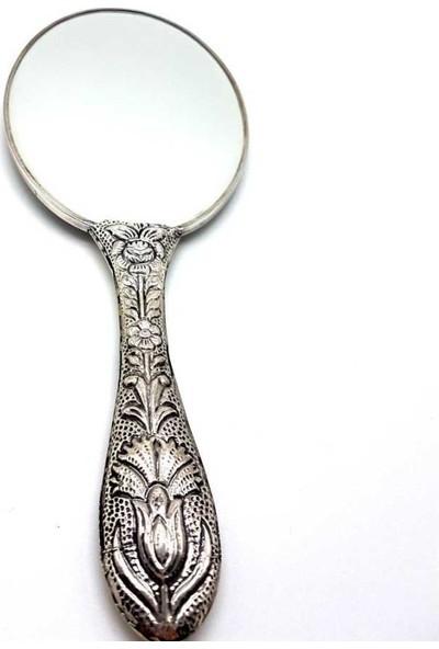 Cng Karanfil Lale Desenli Büyük Gümüş El Aynası No 4