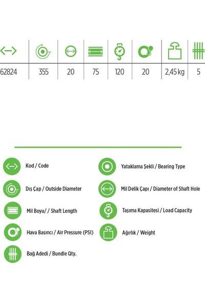 Rulmanlı Şişme Teker - El Arabası Tekeri 3,50X7