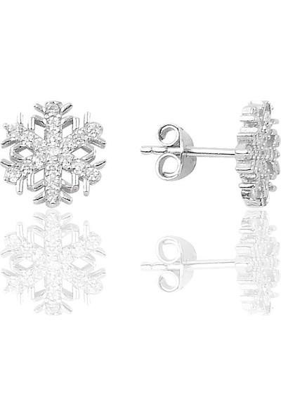 Söğütlü Si̇lver Gümüş Rodyumlu New Kar Tanesi Küpe