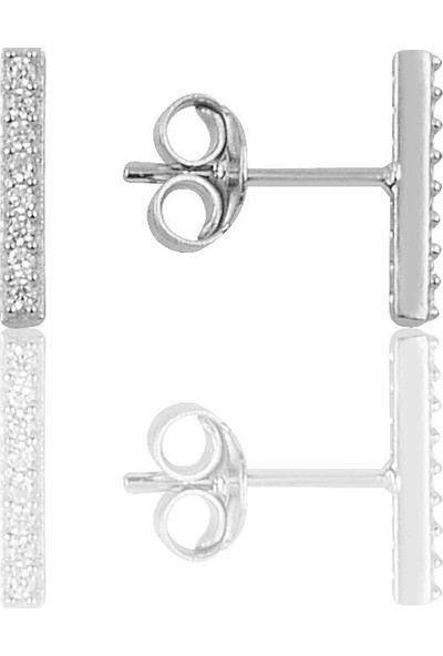Söğütlü Si̇lver Gümüş Rodyumlu Çizgi Küpe